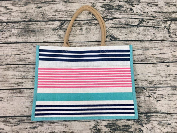 Paradise Stripe Jute Pocket Tote-Aqua/Navy/Punch