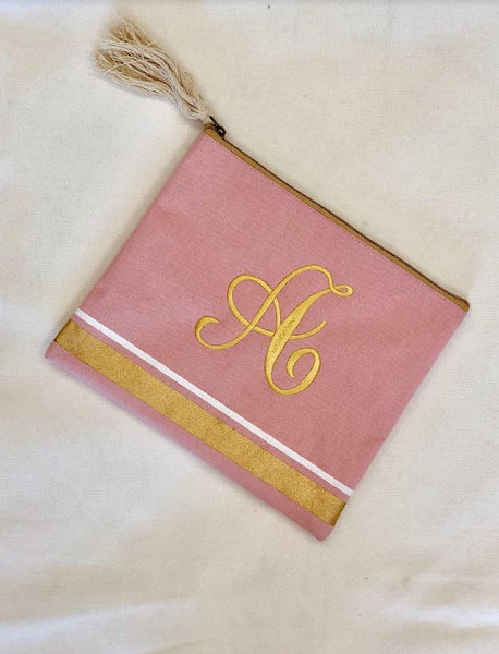 Boca Canvas Cosmetic Bag-blush/gold - Southern Grace Creations