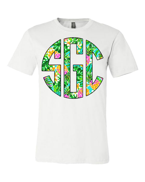 Tropical Pineapple Print Monogram - White Tee
