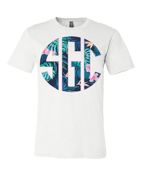 Tropical Print Monogram - White Tee