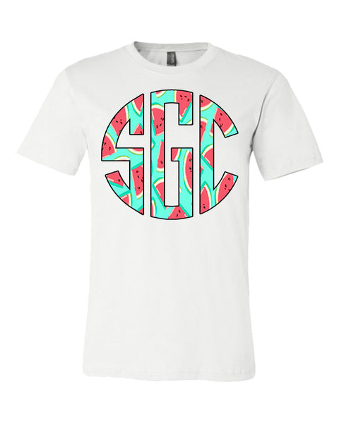 Watermelon Print Monogram - White Tee