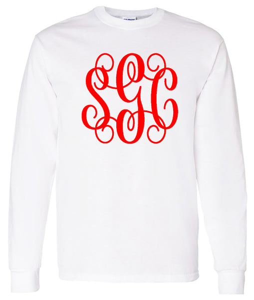 White Long Sleeve Tee with Big Red Vine Monogram  Font will be as shown in picture (vine)  Valentines Day  Southern Grace Creations