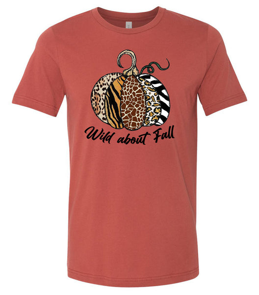 Wild About Fall Animal Print Pumpkin - Rust Short Sleeve Tee