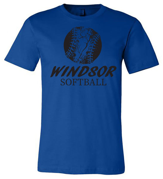 Windsor - Softball Distressed with Player Windsor Softball - Royal (Tee/Hoodie/Sweatshirt)