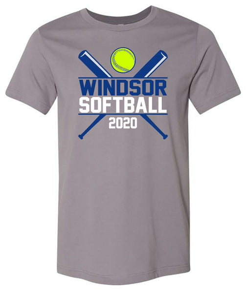 Windsor - Windsor Softball 2020 with Crossed Bats - Storm (Tee/Hoodie/Sweatshirt)