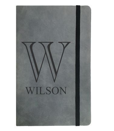 Grey faux leather notebook- Large