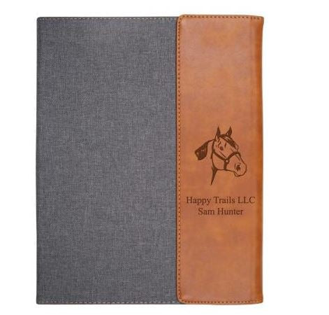 Grey & Tan Faux Leather Padfolio