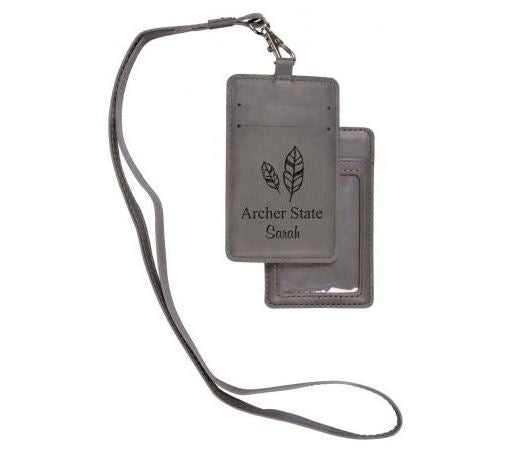 Grey Faux Leather ID Lanyard