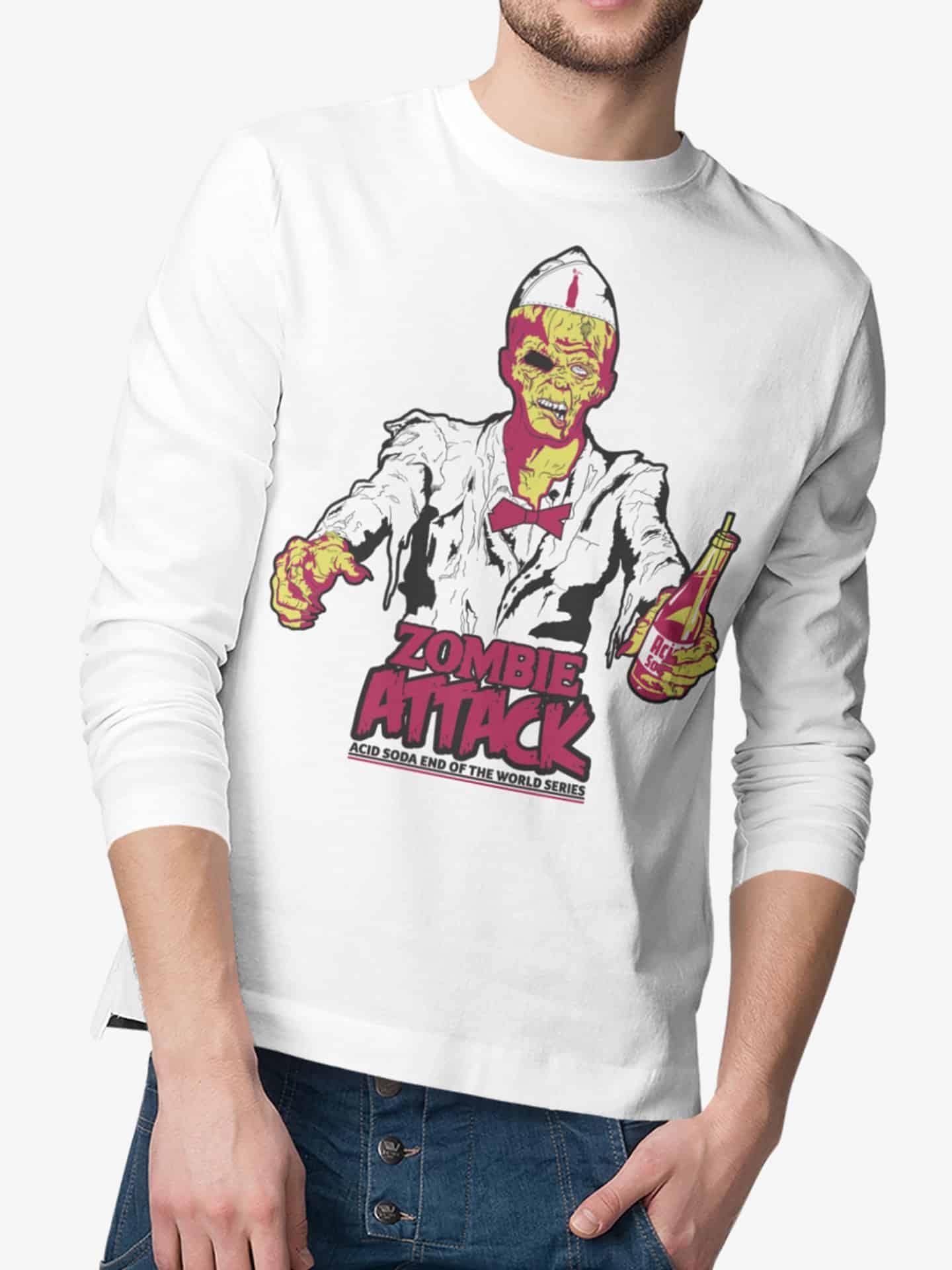 Playera Manga Larga Zombie Attack (Hombre) - Acid Soda