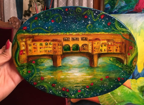 Starry Ponte Vecchio Original Oil Painting