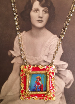 James Lort Medallion with Brass Pearl and Gold Filled Chain