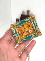 24K Sunflower Bounty Medallion - Original Miniature Painting On Gold Vermeil & Crystal Quartz Chain