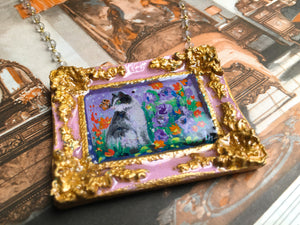 """Borgo Kitty"" Medallion - Original Miniature Painting On Gold Vermeil Crystal Quartz Chain - Original Painting"
