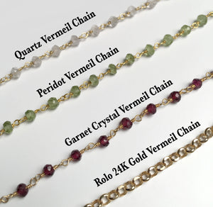 Create Your Own Medallion - 24K Gold Vermeil Sterling Silver Crystal Stone Chain