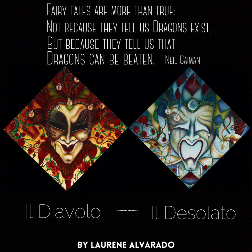Il Diavolo & Il Desolato - SET of Two Original Paintings by Laurene Alvarado