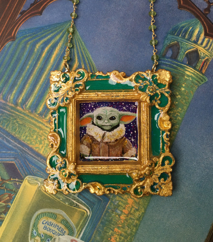 """The Child"" Aka Baby Yoda Medallion - Original Acrylic Painting"