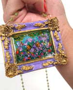 24K Hibiscus and Butterflies Medallion - Original Miniature Painting on Gold Vermeil & Peridot Chain