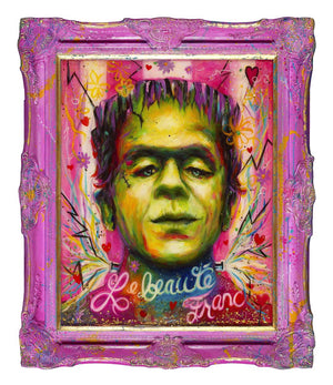 Le Beauté Franc - Original Mixed Media Portrait of Frankenstein Monster