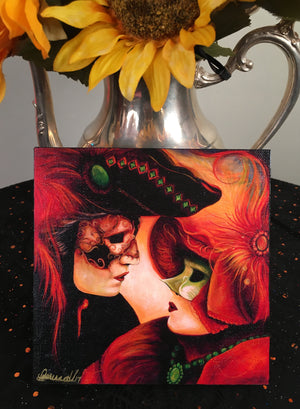 A Lover's Lament 6x6 inch Canvas Print on Wood - Signed