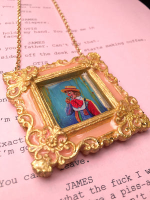 """Shia Medallion"" Peach Painted Medallion on Sterling Silver 24K Gold Vermeil 32 inch Chain"