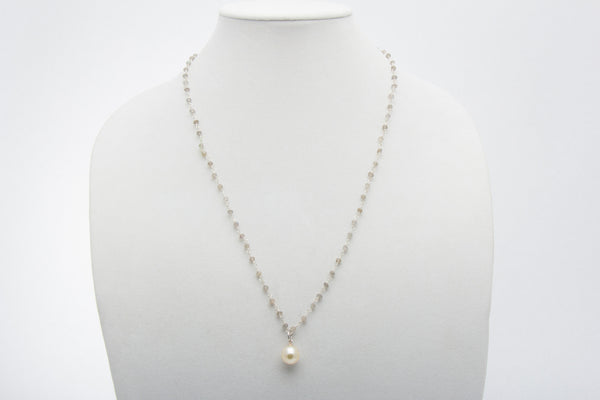 Champagne Baroque South Sea Pearl and Labradorite Pendant - West Pearls