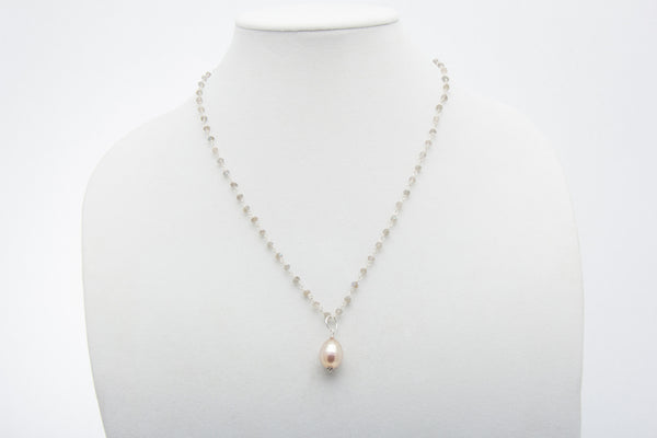 Peachy Pink Freshwater Pearl Pendant and Labradorite Necklace - West Pearls