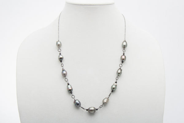 Baroque Tahitian Pearl and Black Spinel Oxidized Sterling Silver Necklace - West Pearls