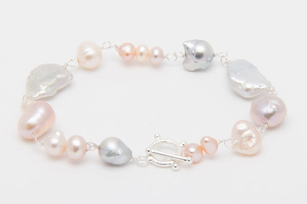 Multicolored Mixed Melange Sterling Silver Pearl Bracelet