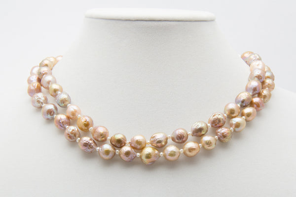 Kasumi Like Chinese Ripple Pearl and Petite Seed Pearl Rope with Oxidized Sterling Silver and Diamond Clasp - West Pearls
