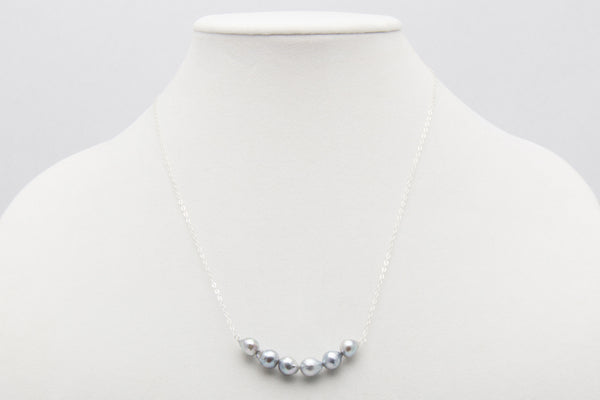 Baroque Blue Akoya Sterling Silver Bar Necklace - West Pearls