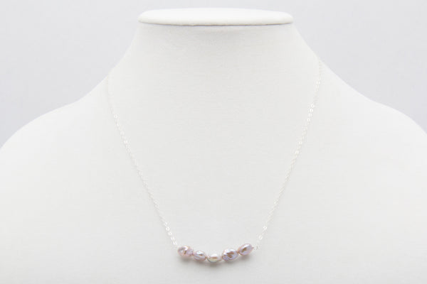 Lavender Freshwater Keshi Pearl Bar Necklace - West Pearls