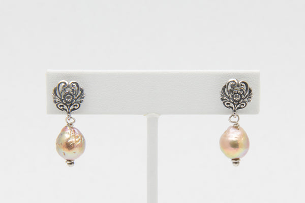 Ripple pearl and Sterling Silver Floral Filigree Earrings - West Pearls