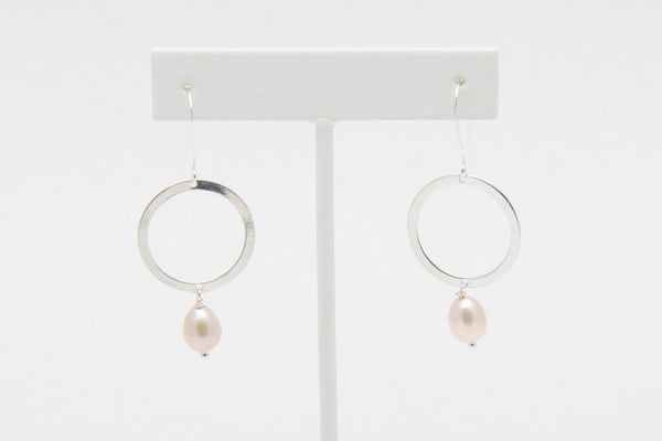 White Freshwater Pearl with Large Circle Design Sterling Silver Drop Earrings