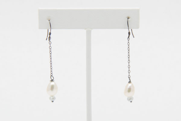 Baroque Freshwater Pearl and Moonstone Dangle Drop Earrings - West Pearls