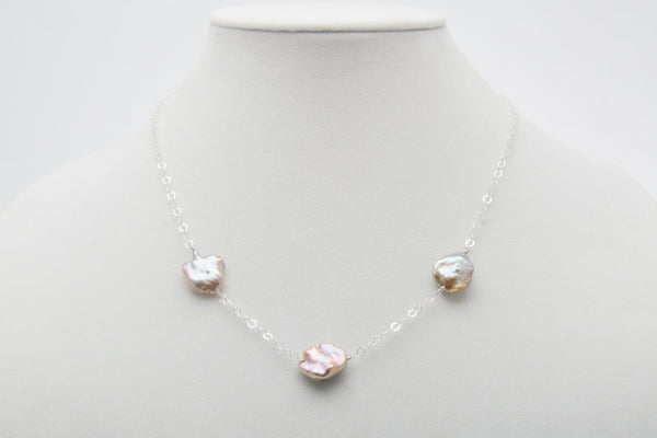 Lavender Keshi Freshwater Pearl Half Tincup Necklace