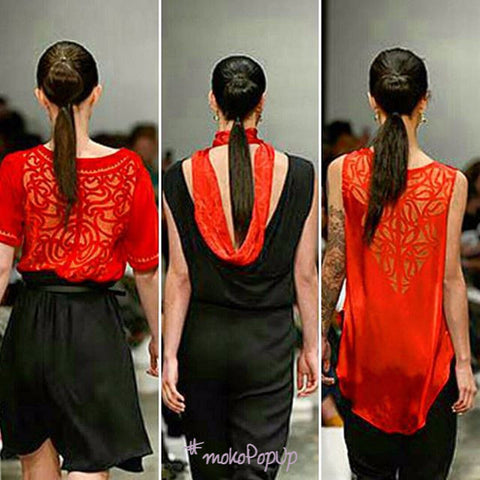 Tee with Kimono sleeve - by Aho Manawa. From the 2015 New Zealand Fashion Week runway.