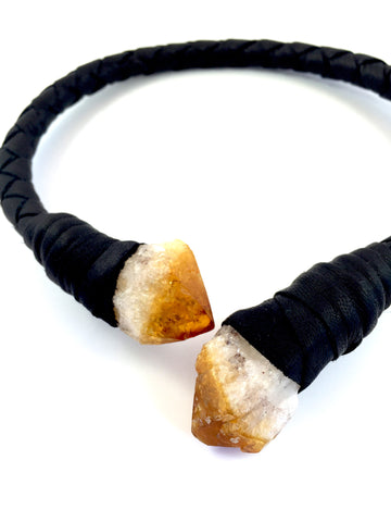 Deerskin Citrine leather wrap, by Henare