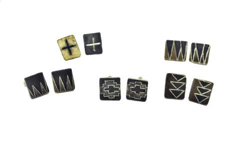 Block cross cufflinks by Sharlaine Anapu Jewelry