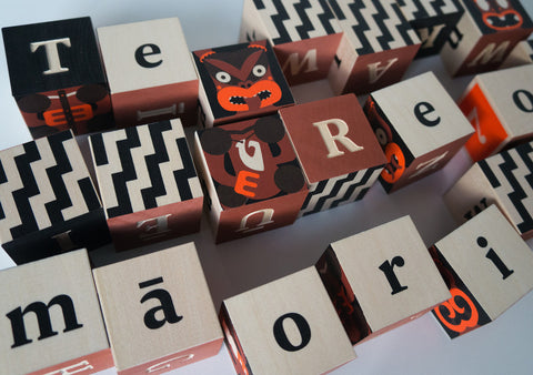 Maori Alphabet Blocks, design by Johnson Witehira; made by Uncle Goose