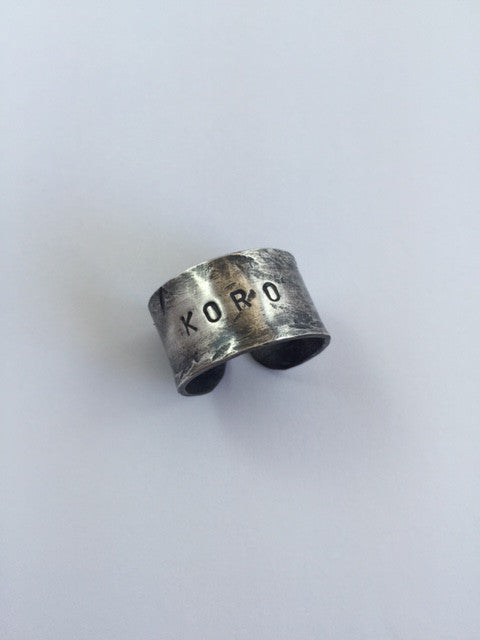 Koro Ring, hand stamped and hand formed in copper and heavily plated in silver, by Henare