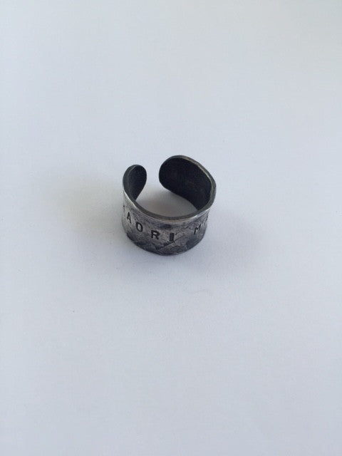 Māori Made Ring, hand stamped and hand formed in copper and heavily plated in silver, by Henare
