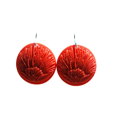 Tania Tupu Pohutakawa circle earrings