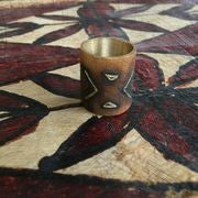 Wide band etched bronze ring by Sharlaine Anapu Jewelry