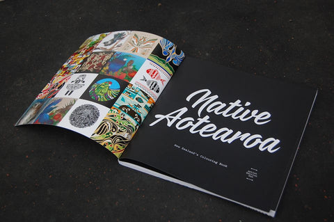 Native Aotearoa Coloring In book - signed by artist Shane Hansen
