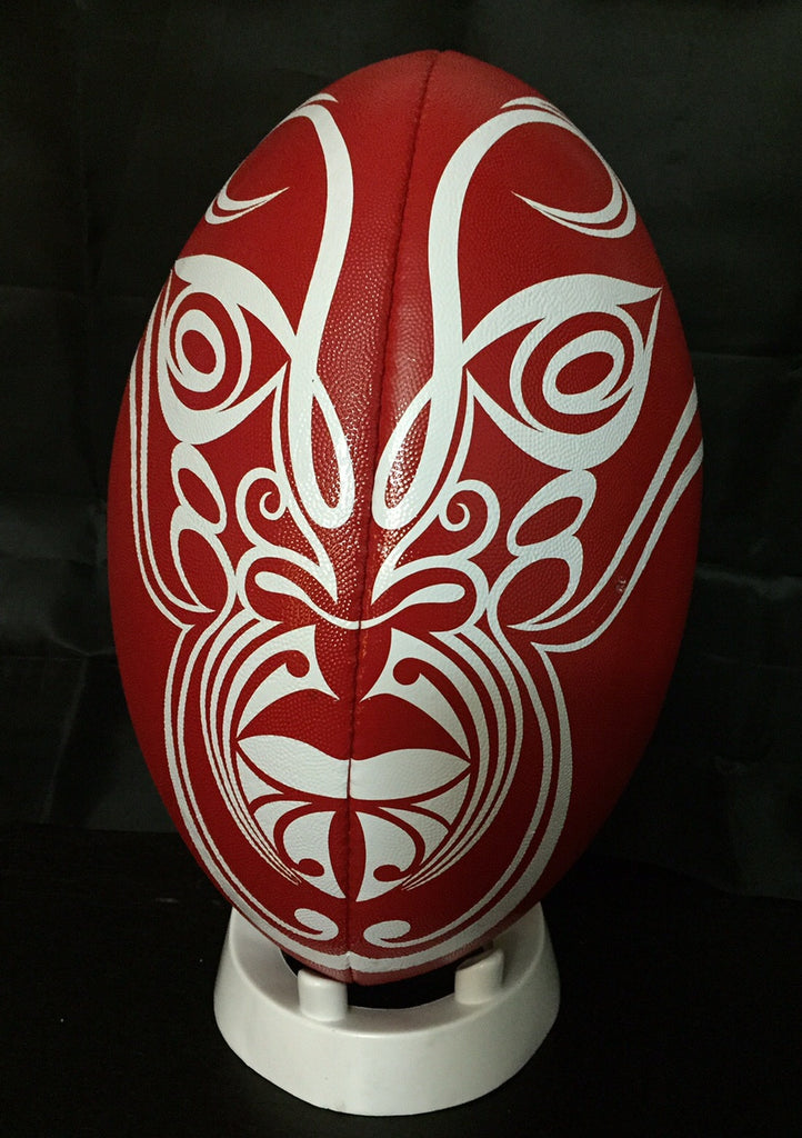 One off hand painted 'Toa' rugby ball by Shane Hansen. Only found here at Moko Pop Up!