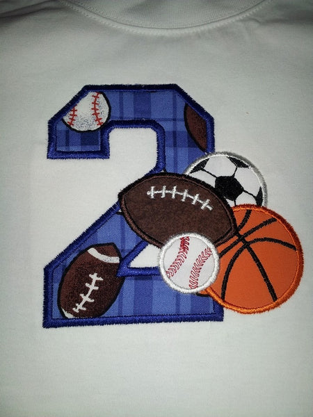 Football, Soccer,  Basketball Birthday Shirt