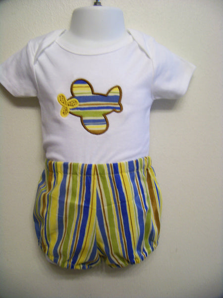 Two Piece Airplane short set boys airplane diaper cover or shorts outfit set