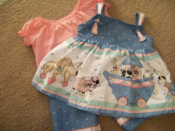 Sweet Little Noahs Ark three piece Dress Set