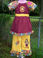 boutique girls size 6 hip chic two piece set OOAK with appliques and embroidery