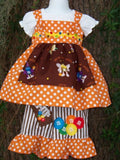 Candy three piece set peasant top knot dress ruffle pants